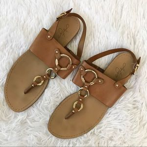 Arturo Chiang Tan and Gold Leather Sandals T Strap